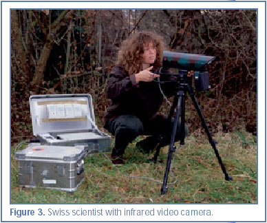 Figure 3. Swiss scientist with infrared video camera.