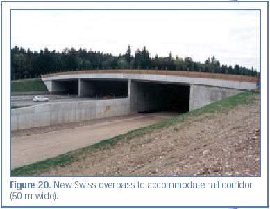 Figure 20. New Swiss overpass to accommodate rail corridor (50 m wide).